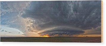 Weatherford Oklahoma Sunset Supercell Wood Print