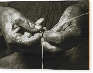 Weavers Hands Wood Print by John Hix