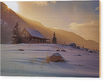 Wood Print featuring the photograph Weber Canyon Cabin Sunrise. by Johnny Adolphson