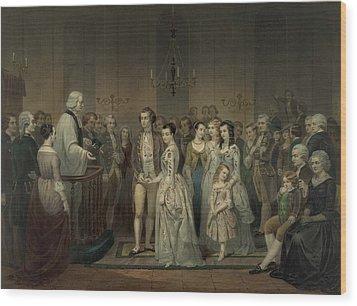 Wedding Of George Washington And Martha Wood Print by Everett