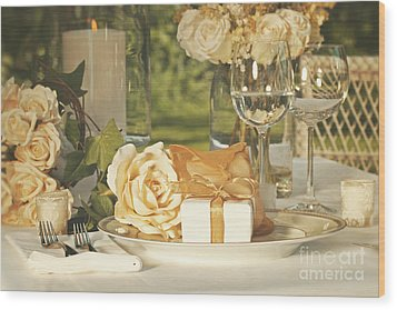 Wedding Party Favors On Plate At Reception Wood Print by Sandra Cunningham