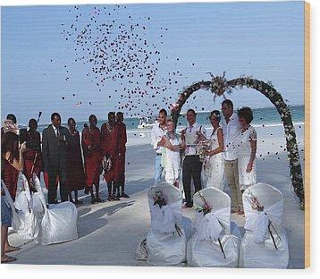 Wedding Party In Rose Petals Wood Print
