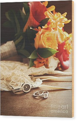 Wedding Ring With Bouquet On Velvet  Wood Print by Sandra Cunningham