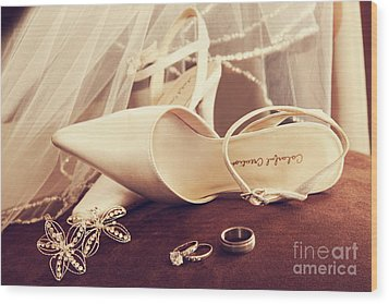 Wedding Shoes With Veil And Rings On Velvet Chair Wood Print by Sandra Cunningham