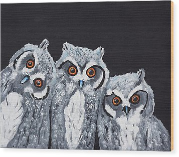Wee Owls Wood Print
