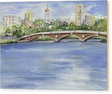 Weeks Footbridge Over The Charles River Wood Print by Erica Dale Strzepek
