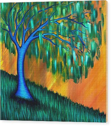 Weeping Willow Wood Print by Brenda Higginson