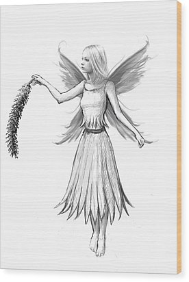 Weeping Willow Fairy With Catkin B And W Wood Print