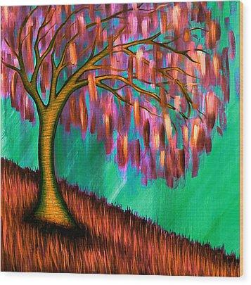 Weeping Willow IIi Wood Print by Brenda Higginson