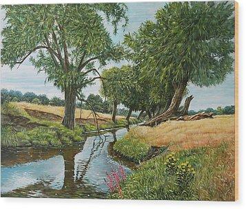 Weeping Willows At Beverley Brook Wood Print