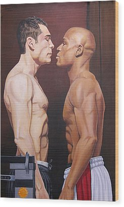 Weighin Staredown Wood Print by Kenneth Kelsoe