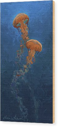 Wood Print featuring the painting Weightless - Pacific Nettle Jellyfish Study  by Karen Whitworth