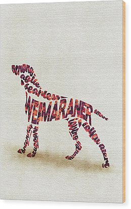 Wood Print featuring the painting Weimaraner Watercolor Painting / Typographic Art by Inspirowl Design