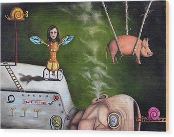 Weird Science-the Robot Factory Wood Print by Leah Saulnier The Painting Maniac