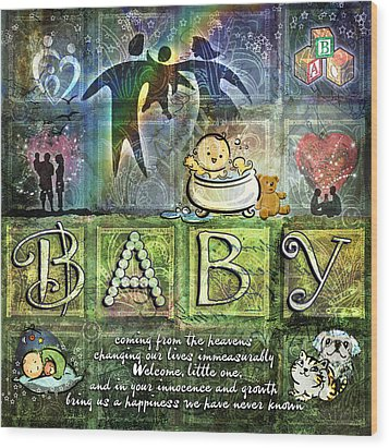 Welcome Baby Wood Print by Evie Cook