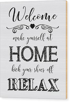 Wood Print featuring the digital art Welcome Home-b by Jean Plout