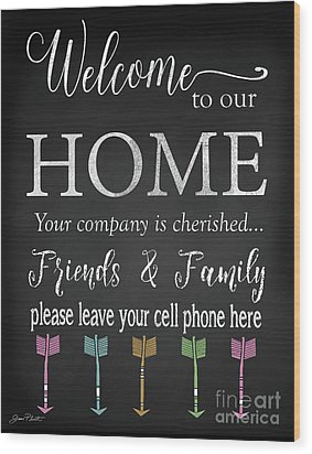 Wood Print featuring the digital art Welcome Home-e by Jean Plout