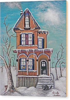 Welcome Home Wood Print by Linda Krider Aliotti