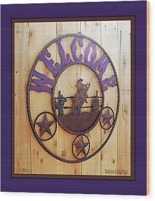 Wood Print featuring the photograph Welcome In Purple by Barbara MacPhail