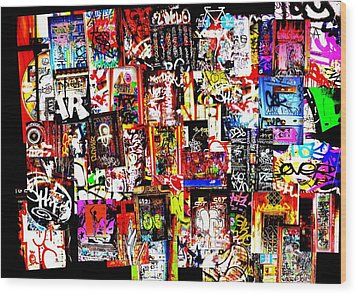Welcome To Barcelona Graffiti Nirvana Wood Print by Funkpix Photo Hunter