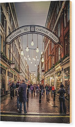 Welcome To Carnaby Street London Wood Print by Alex Saunders