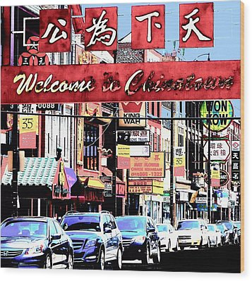 Welcome To Chinatown Sign Red Wood Print by Marianne Dow