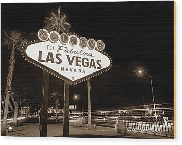 Wood Print featuring the photograph Welcome To Fabulous Las Vegas - Neon Sign In Sepia by Gregory Ballos