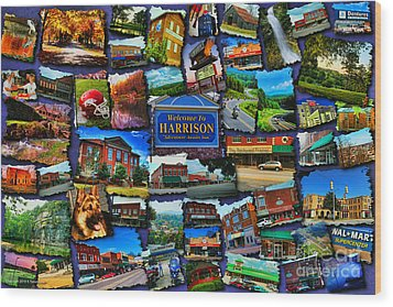 Welcome To Harrison Arkansas Wood Print by Kathy Tarochione