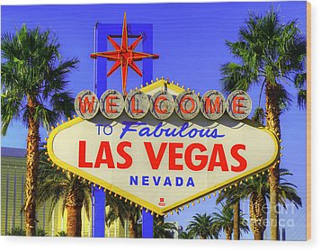 Welcome To Las Vegas Wood Print by Anthony Sacco
