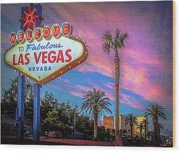 Welcome To Las Vegas Wood Print by Mark Dunton