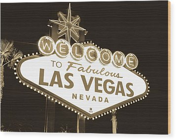 Wood Print featuring the photograph Welcome To Las Vegas Neon Sign In Sepia - Nevada Usa by Gregory Ballos