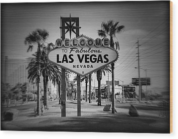 Welcome To Las Vegas Series Holga Black And White Wood Print by Ricky Barnard