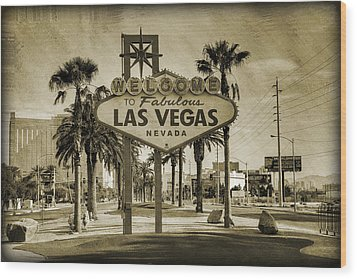Welcome To Las Vegas Series Sepia Grunge Wood Print by Ricky Barnard