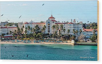Welcome To Nassau Wood Print by Christopher Holmes