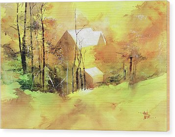 Wood Print featuring the painting Welcome Winter by Anil Nene