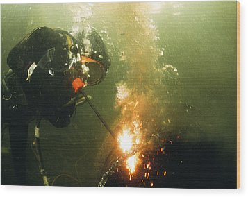 Welding Underwater Wood Print by Peter Scoones