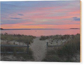 Wellfleet Harbor Sunset From Mayo Beach Wood Print by John Burk