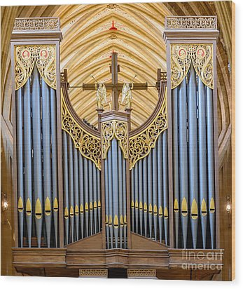 Wells Cathedral Organ Wood Print by Colin Rayner