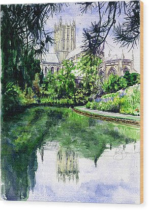 Wells Cathedral Wood Print by John D Benson
