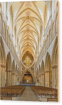 Wells Cathedral Nave Wood Print by Colin Rayner