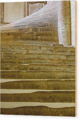 Wells Cathedral Steps Wood Print by Colin Rayner