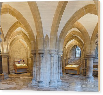 Wells Cathedral Undercroft Wood Print by Colin Rayner