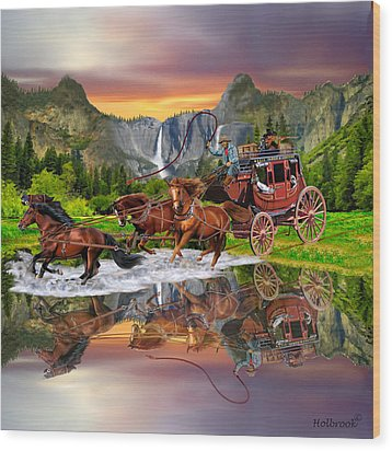 Wells Fargo Stagecoach Wood Print by Glenn Holbrook