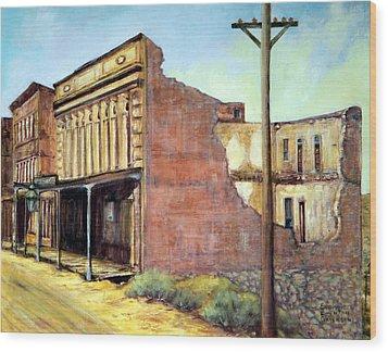 Wells Fargo Virginia City Nevada Wood Print by Evelyne Boynton Grierson