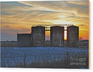Wellsite Sunset Wood Print