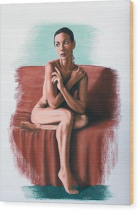 Wood Print featuring the painting Wenona  Exposed by Joseph Ogle