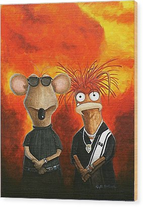Wood Print featuring the painting We're Bad Boys Okay by Al  Molina