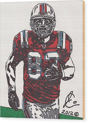 Wes Welker Wood Print by Jeremiah Colley