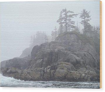 West Coast Landscape Ocean Fog I Wood Print