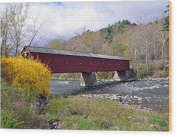 West Cornwall Ct Covered Bridge Wood Print